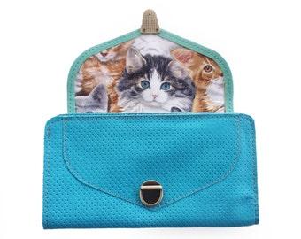 Leather wallet, light turquoise wallet, Women's wallet, Handmade wallet , sale