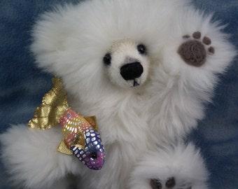 "Orion a Wonderful Artist Polar Bear Cub with his Rainbow Fish by Bramber Bears 10"" OOAK"