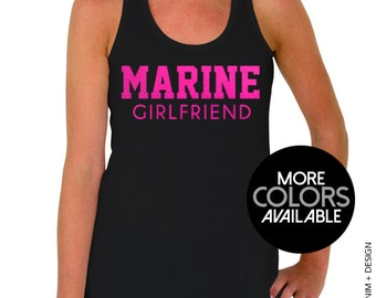 Marine Girlfriend - Flowy Racerback Tank Top - Pink Ink - Black, Gray or White Tops Available
