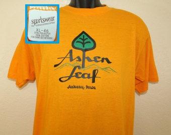Aspen Leaf yogurt ice cream vintage t-shirt L yellow 70s 80s Sportswear thin