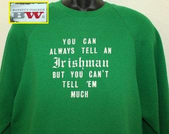 Irish St Patrick's Day Irishman vintage sweatshirt L/XL green 80s Bassett Walker BW