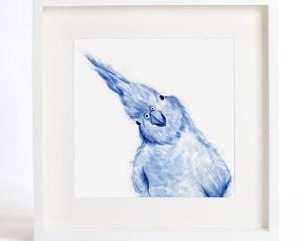 BIRD ART PRINT - Curious Bird Watercolor Painting, Blue Bird Illustration, Dorm Wall Art, parrot portrait, blue watercolor painting.