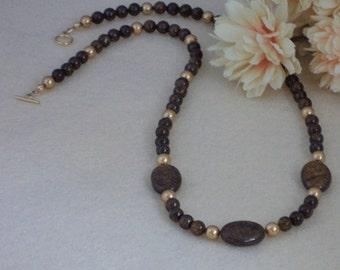 Bronzite Gemstone Beaded Necklace  FREE SHIPPING