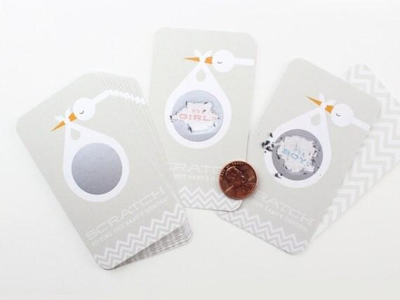 12 Baby Gender Reveal Scratch-off Cards // Grey Stork