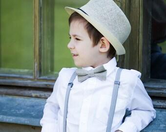 Linen bow tie - Boys pre tied bow tie - Gray linen bow tie - Toddler bow tie - Ring bearer bow tie - Man bowtie - Groom bow tie