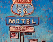 Route 66 Motel - Old sign, classic, vintage, retro, blue sky, motel, original oil painting, paintingsbyryno