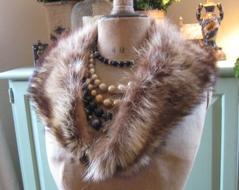 Raccoon Fur Collar Old Hollywood Glam Style!