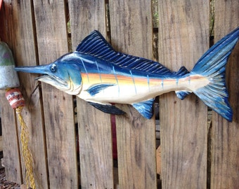 "Blue Marlin 30"" chainsaw wood carving fish wall mount sculpture fishing decor sealed indoor outdoor angler art nautical home accent"