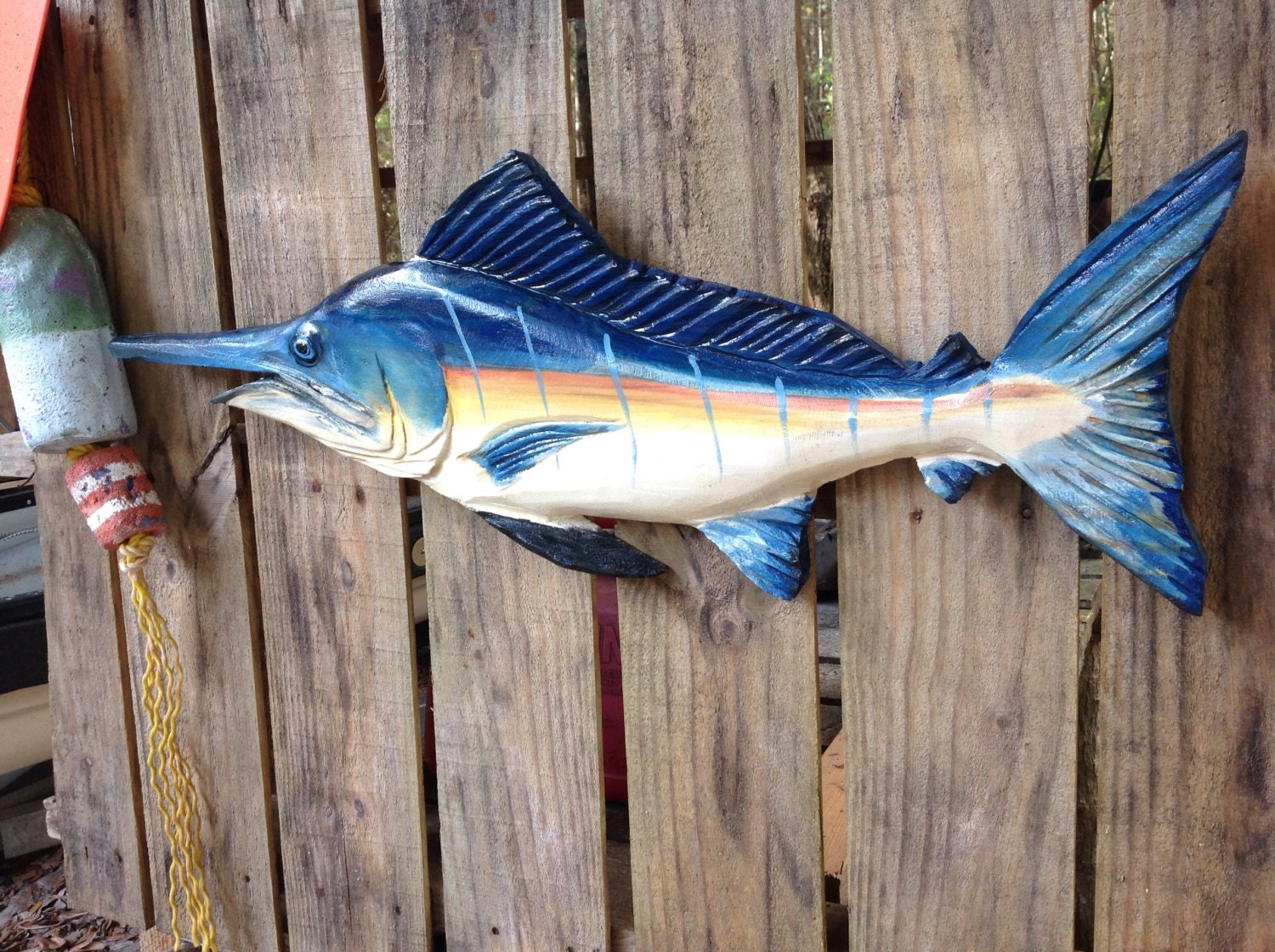 Blue Marlin 30 Chainsaw Wood Carving Fish Wall Mount