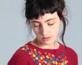 Amazing embroidered pure cashmere cherry sweater