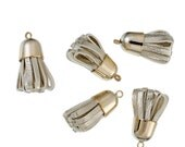 4 Tassels Gold Tone Faux Leather Ideal for Cell Purses and Pendants - Z217