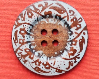 SALE 2 Huge Wood Buttons Extra Large 60mm Rich Brown with Abstract Design - BUT98