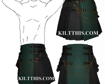 Interchangeable Black Green Canvas Cargo Kilt Custom Fit Adjustable Many Options