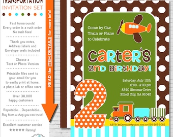 Transportation Party Invitation | Transportation Birthday Invitation | Transportation Printable | Car, Train, Plane | Amanda's Parties To Go