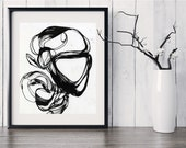Fine Art Print, Black Line, Pen and Ink, Ink Drawing, Original Abstract Art, Black, White, Ink Swirl, Original Abstract Giclee Print