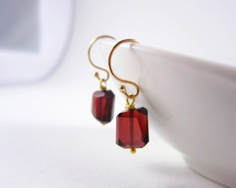 Dark Red Garnet Earrings - January Birthstone Garnet Jewelry - 14k Gold Earrings - Sterling Silver Earrings - Natural Stone Earrings