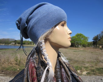 Lightweight Summer Hats Slouchy Beanie Hat Tie Back Tube Tam Spring Blue Cotton Knit A1299
