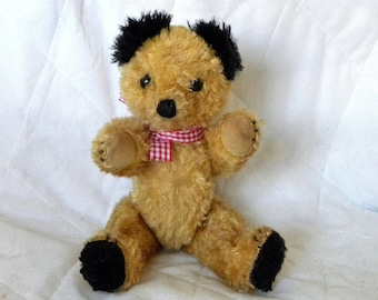 "Vintage Sooty Bear - 8"" Cotton Plush Teddy - 1950's Sooty"