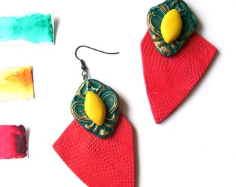 Neon red neon yellow geometric earrings art deco African art inspired oversize statement earrings polymer clay