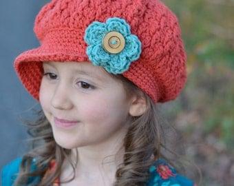 Girl's Hat, Orange Girl's Newsboy Hat, Crochet Slouchy Hat, Slouchy Beanie Hat with Brim, Toddler Hats for Girls, Girls Slouchy Beanie