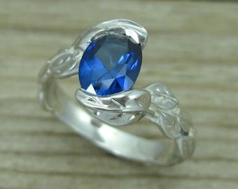 Oval Sapphire Engagement Ring, Oval Engagement Ring, White Gold Leaf Ring, Sapphire Leaf Ring, Leaves Ring, Sapphire Leaves Ring,