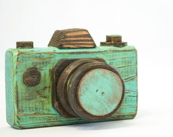 Vintage Camera Distressed Teal Wood Camera Rustic Home Decor Gift for Photographer Wooden Home Accessories Rustic Bookshelf Item Wood Camera