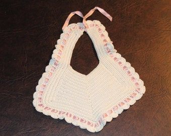 Vintage Baby Bibb, pink, Baby girl, Baby clothes
