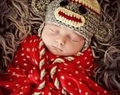 Newborn Baby Boy Photo Prop Sock Monkey Hat