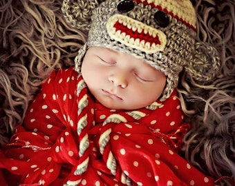 Newborn Baby Boy Photo Prop Sock Monkey Hat