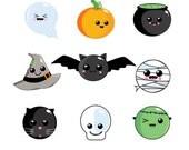 Halloween clipart, kawaii halloween, halloween printables, spooky clipart, pumpkin clipart, ghost clipart, monster clipart, bat clipart