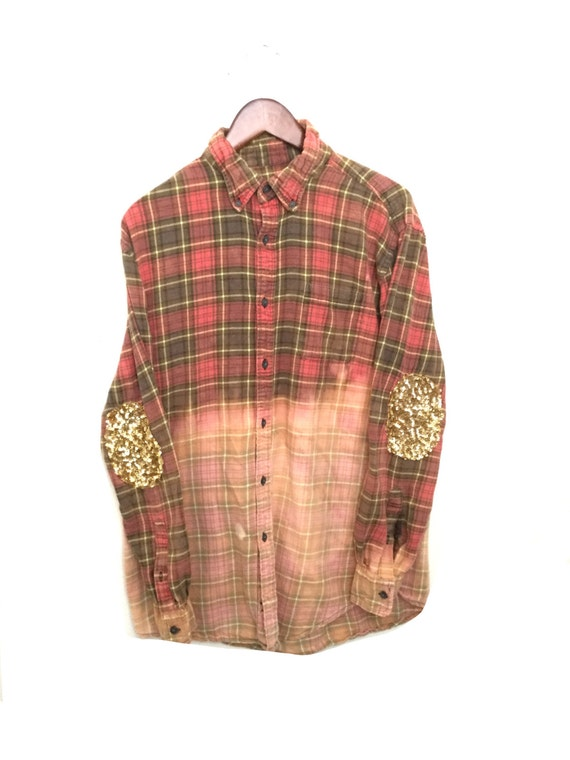 Sequin flannel shirt hipster grunge acid dip dyed by for How to wash flannel shirts