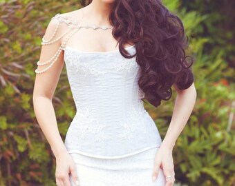 FULLY CUSTOM - Free Shipping - steel boned dove sateen coutil corset with white lace and crystals