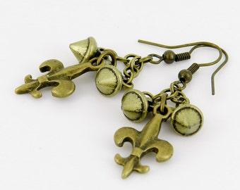Fleur de Lis Earrings, Metal Spike Jewelry, Antique Brass, Original Design