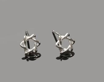 Sterling Silver Magen David Stud Earrings Star of David Studs