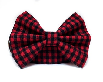 Plaid Dog Collar / Plaid Dog Bow Tie / Buffalo Plaid Dog Collar / Red Black Dog Collar / Boy Dog Collar / Dog Bowtie / Buffalo Plaid Bow Tie