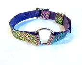 Iridescent Purple Unicorn O-Ring Bondage Collar Leather Choker