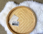 vintage wicker bamboo circle basket tray