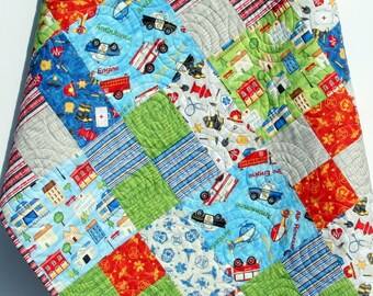 Baby Boy Quilt Primary Red Blue Bedding Car Fire Truck Rescue EMS Polic Officers Help is On the Way Ambulance First Responders Crib Bedding