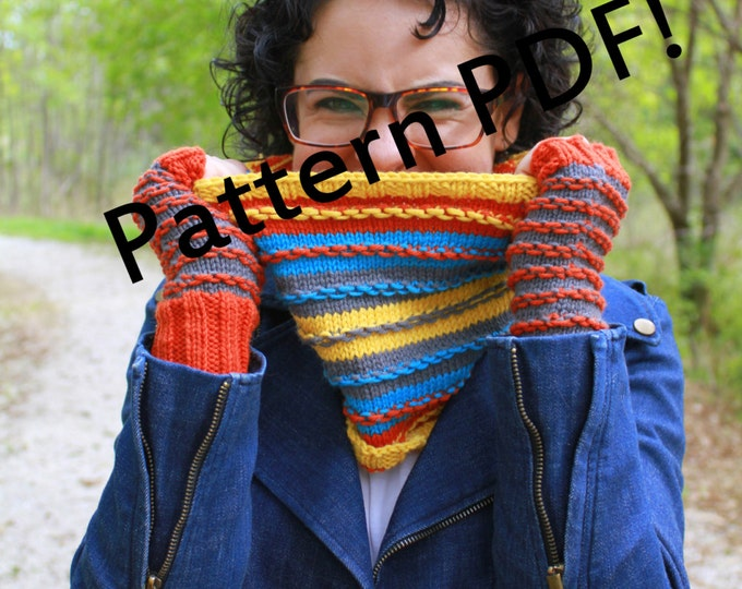 Surplus Stripes Cowl/Mittens/Fingerless Mitts: PDF Knitting Pattern by TheSexyKnitter