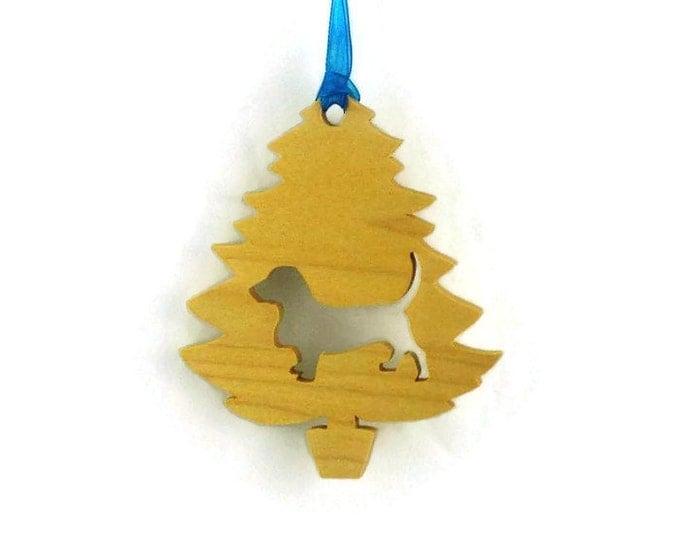 Basset Hound Christmas Tree Ornament Handmade From Poplar Wood, Hound Dog