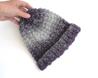 Knitted Beanie ,  hand knitted hat , cable knit hat , winter hat , purple knitted hat for women , chunky knit , striped hat , birthday gift