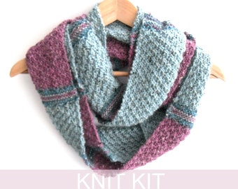 Tartan stripes Infinity scarf knitting kit , knitters gift , scottish cowl kit , full written instructions , easy knit