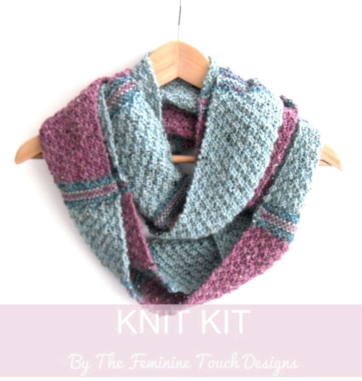 Knitting Pattern Tartan Scarf : Tartan stripes Infinity scarf knitting kit , knitters gift , scottish cowl ki...