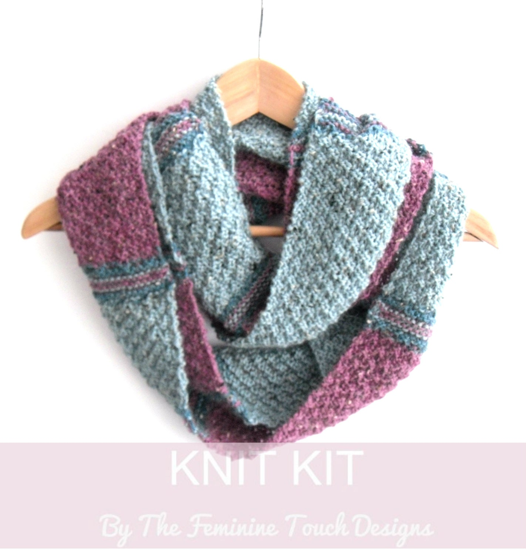 Striped Infinity Scarf Knitting Pattern : Tartan stripes Infinity scarf knitting kit , knitters gift , scottish cowl ki...