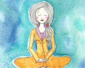 Woman Meditating, Lotus Pose, Prayer, Spiritual Art, Greeting Card or Photographic Art Print