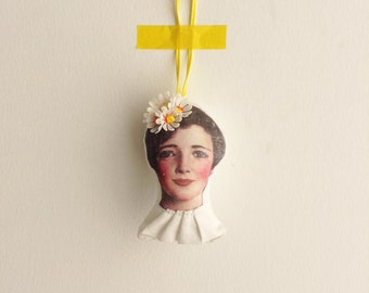 Stocking stuffer Holiday Decor,ChristmasTree Beaded ornament Doll head,Vintage plastic flowers & yellow pink beads crown, handmade ornament