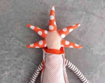 Modern rag doll , Cloth Doll , Handmade one of a kind , Textile art , Plushie doll , Decorative Doll , doll art , gray orange , Unique gift