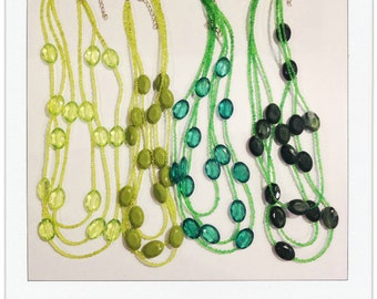 The Kinsey Necklace in KELLY GREEN | Triple Strand Necklace | Seed Bead Necklace | Three Layer Necklace | Faceted Bead Necklace |