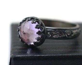 Pink Amethyst Ring, Oxidized Renaissance Ring, Artisan Gemstone Ring, Handforged Silver Ring