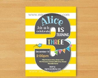 kids Birthday party invitation chevron, 1st 2nd 3rd 4th 5th 6th 7th Birthday Invitation, two three four five six seven - card 614A